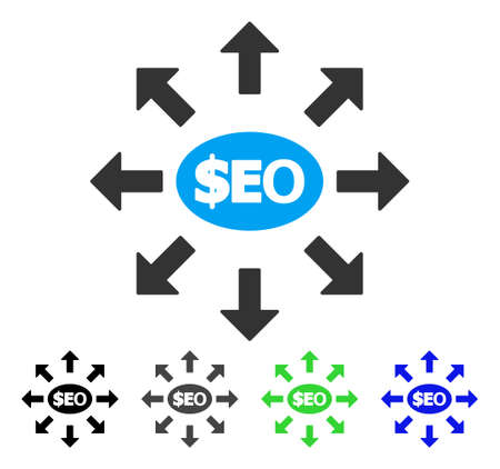 Seo Marketing flat vector pictogram. Colored seo marketing gray, black, blue, green pictogram variants. Flat icon style for web design.