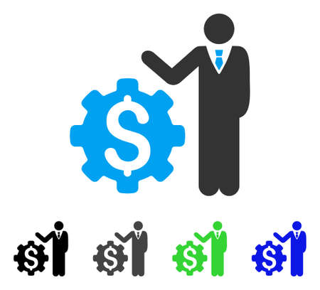 Businessman Options flat vector pictogram. Colored businessman options gray, black, blue, green pictogram versions. Flat icon style for web design.