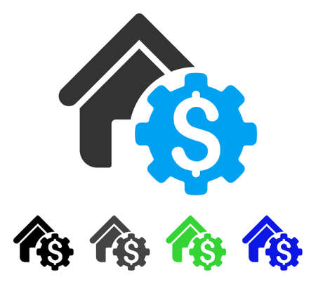 Colored house rent options gray, black, blue, green icon variants, flat icon style for application design.