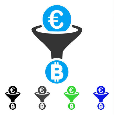 Euro Bitcoin Conversion Funnel flat vector pictogram. Colored euro bitcoin conversion funnel gray, black, blue, green icon versions. Flat icon style for application design. Illustration