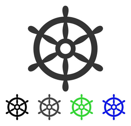 Boat Steering Wheel flat vector pictogram. Colored boat steering wheel gray, black, blue, green icon variants. Flat icon style for graphic design.