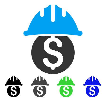 Dollar Safety Helmet flat vector pictogram. Colored dollar safety helmet gray, black, blue, green icon variants. Flat icon style for application design. Illustration