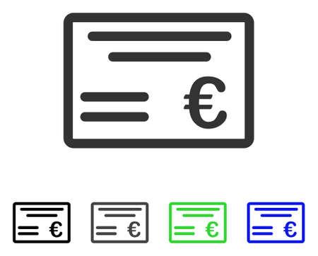 Euro Cheque flat vector illustration. Colored euro cheque gray, black, blue, green icon versions. Flat icon style for web design.