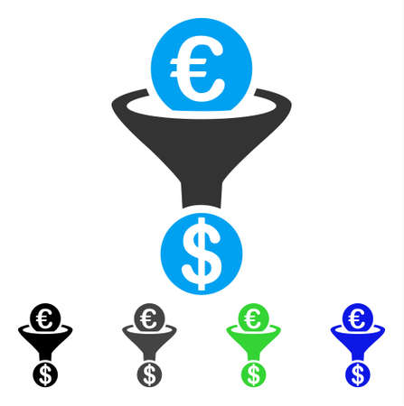 Euro Currency Conversion Funnel flat vector pictograph. Colored euro currency conversion funnel gray, black, blue, green icon variants. Flat icon style for graphic design. Illustration
