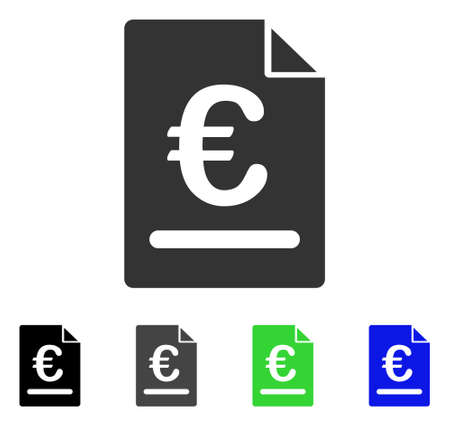 Euro Invoice flat vector pictogram. Colored euro invoice gray, black, blue, green pictogram versions. Flat icon style for application design.