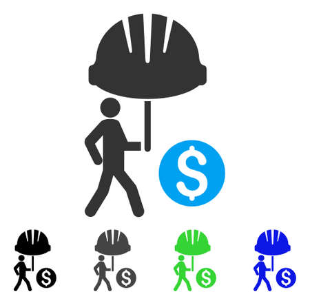 sure: Industrial Financial Coverage flat vector illustration. Colored industrial financial coverage gray, black, blue, green pictogram variants. Flat icon style for application design.