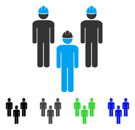 Standing Engineer Group flat vector illustration. Colored standing engineer group gray, black, blue, green icon variants. Flat icon style for application design.