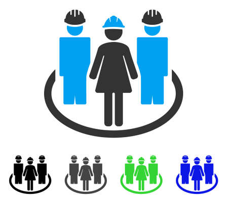 Worker Social Relations flat vector pictograph. Colored worker social relations gray, black, blue, green icon variants. Flat icon style for application design.