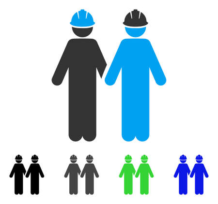 Workers flat vector icon. Colored workers gray, black, blue, green icon variants. Flat icon style for application design.