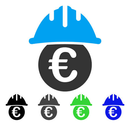 Euro Under Safety Helmet flat vector pictogram. Colored euro under safety helmet gray, black, blue, green pictogram variants. Flat icon style for graphic design. Illustration
