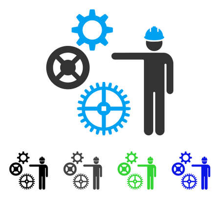 Gears Mechanics Presentation flat vector illustration. Colored gears mechanics presentation gray, black, blue, green icon versions. Flat icon style for application design.