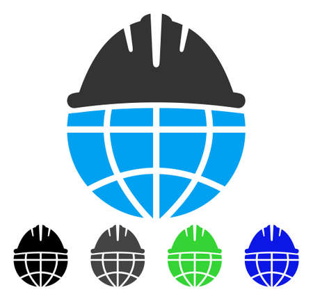 beware: Global Helmet flat vector pictogram. Colored global helmet gray, black, blue, green icon versions. Flat icon style for web design.