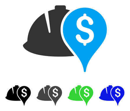 Helmet And Money Pointer flat vector illustration. Colored helmet and money pointer gray, black, blue, green pictogram versions. Flat icon style for graphic design. Illustration