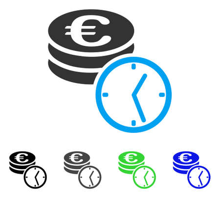 Euro Coins And Time flat vector illustration. Colored Euro coins and time gray, black, blue, green pictogram variants. Flat icon style for web design. Ilustrace