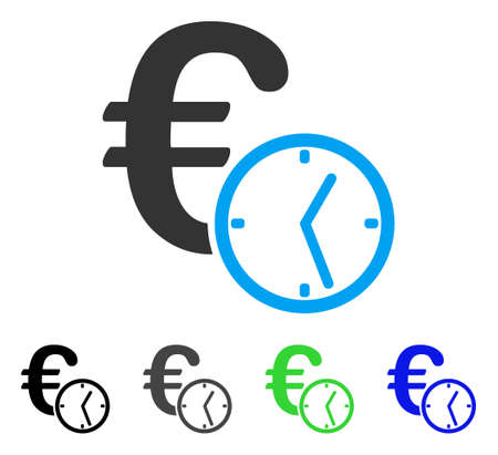 Euro Credit flat vector pictogram. Colored Euro credit gray, black, blue, green pictogram versions. Flat icon style for application design.