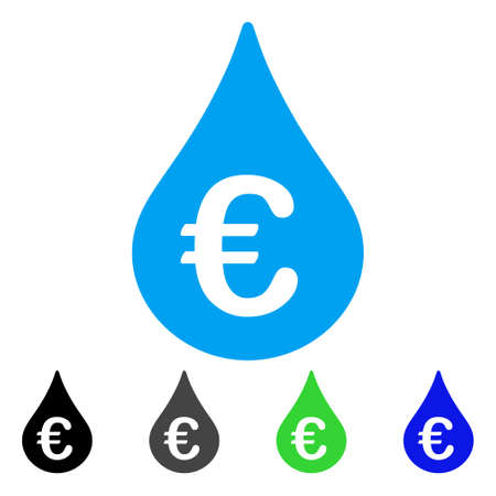 Euro Fuel Drop flat vector icon. Colored Euro fuel drop gray, black, blue, green icon variants. Flat icon style for web design. Illustration