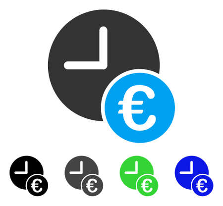 Euro Recurring Payments flat vector illustration. Colored Euro recurring payments gray, black, blue, green pictogram versions. Flat icon style for web design.