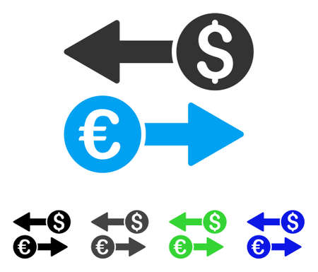Currency Transfers flat vector pictogram. Colored currency transfers gray, black, blue, green icon versions. Flat icon style for graphic design. Illustration