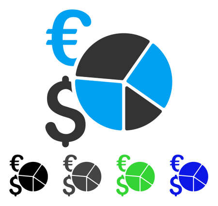 Dollar And Euro Pie Chart flat vector icon. Colored dollar and euro pie chart gray, black, blue, green icon variants. Flat icon style for application design. Illustration