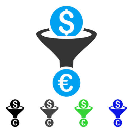 Dollar Euro Conversion Funnel flat vector icon. Colored dollar euro conversion funnel gray, black, blue, green pictogram versions. Flat icon style for application design.