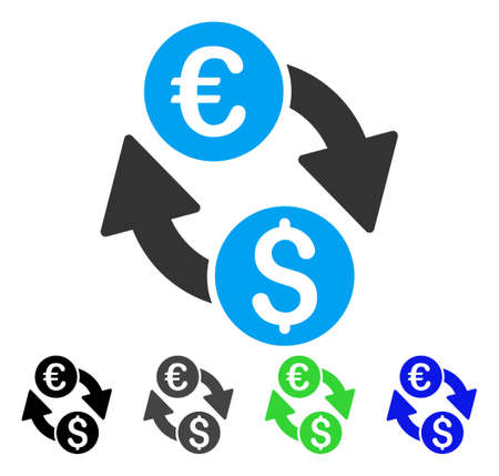Euro Dollar Change flat vector illustration. Colored euro dollar change gray, black, blue, green pictogram versions. Flat icon style for web design.