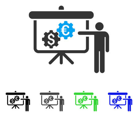 International Industry Presentation flat vector icon. Colored international industry presentation gray, black, blue, green pictogram versions. Flat icon style for graphic design.
