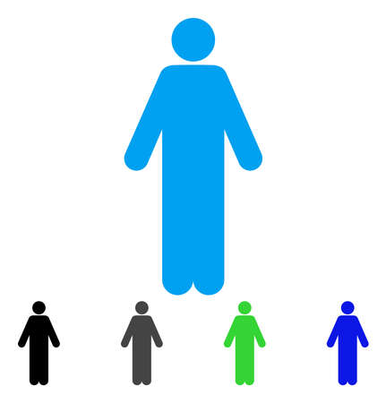 Man flat vector pictograph. Colored man gray, black, blue, green icon versions. Flat icon style for application design.