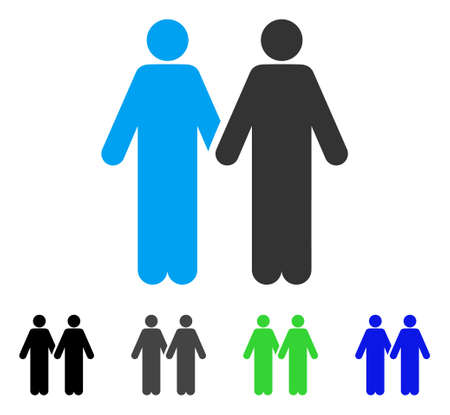 Gay Couple flat vector pictogram. Colored gay couple gray, black, blue, green pictogram variants. Flat icon style for web design.