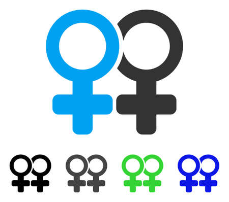 Lesbi Pair flat vector icon. Colored lesbi pair gray, black, blue, green pictogram variants. Flat icon style for graphic design.
