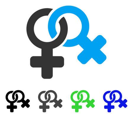 Lesbi Symbol flat vector pictogram. Colored lesbi symbol gray, black, blue, green icon versions. Flat icon style for graphic design.