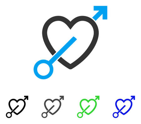 Love Arrow flat vector pictograph. Colored love arrow gray, black, blue, green pictogram variants. Flat icon style for web design.