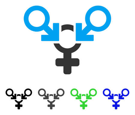 Polyandry flat vector pictograph. Colored polyandry gray, black, blue, green icon versions. Flat icon style for web design. Illustration