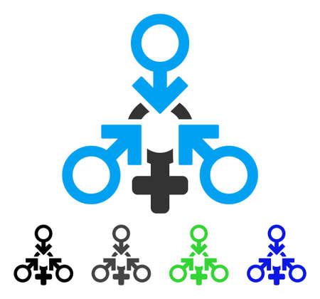 Triple Penetration Sex flat vector pictogram. Colored triple penetration sex gray, black, blue, green pictogram versions. Flat icon style for web design.