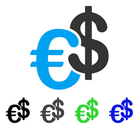 Euro And Dollar Currency flat vector pictogram. Colored euro and dollar currency gray, black, blue, green icon variants. Flat icon style for graphic design. Illustration