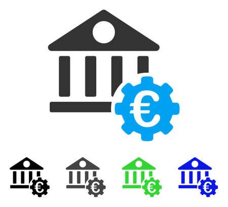 Pittogramma di vettore piatto di Euro Bank Building opzioni. Opzioni colorate per la costruzione di banche in euro versioni di pittogrammi grigi, neri, blu, verdi. Stile icona piatta per il web design.