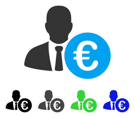 Euro Banker flat vector pictograph. Colored euro banker gray, black, blue, green pictogram variants. Flat icon style for graphic design.