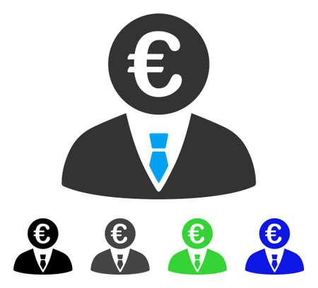 bureaucrat: Euro Clerk flat vector icon. Colored euro clerk gray, black, blue, green pictogram versions. Flat icon style for web design.