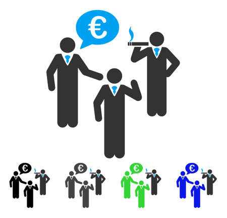 Euro Discuss People flat vector illustration. Colored euro discuss people gray, black, blue, green pictogram variants. Flat icon style for web design. Ilustrace
