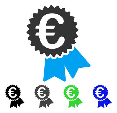 Euro Featured Price Tag flat vector icon. Colored euro featured price tag gray, black, blue, green icon versions. Flat icon style for graphic design. Illustration