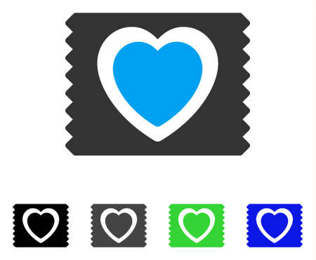 Heart Condom Pack flat vector pictograph. Colored heart condom pack gray, black, blue, green icon variants. Flat icon style for application design.