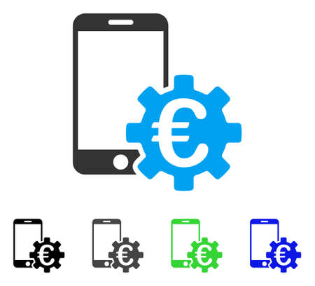 touchpad: Euro Mobile Bank Configuration flat vector pictograph. Colored euro mobile bank configuration gray, black, blue, green pictogram variants. Flat icon style for web design.