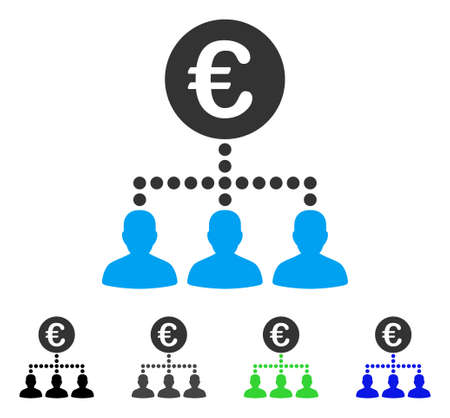 Euro Payment Clients flat vector pictogram. Colored euro payment clients gray, black, blue, green icon variants. Flat icon style for graphic design.