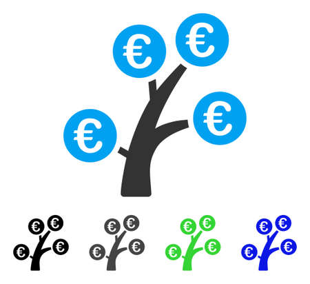 Euro Money Tree flat vector illustration. Colored euro money tree gray, black, blue, green icon variants. Flat icon style for graphic design.