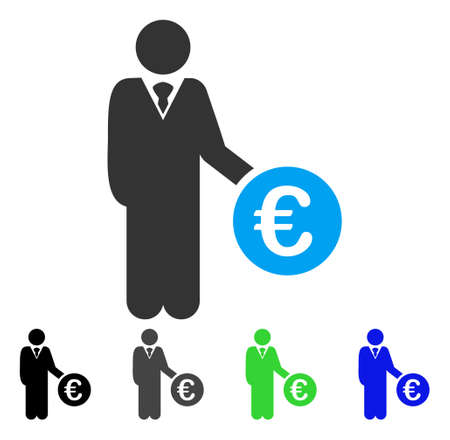 investor: Euro Investor flat vector illustration. Colored euro investor gray, black, blue, green pictogram variants. Flat icon style for graphic design.