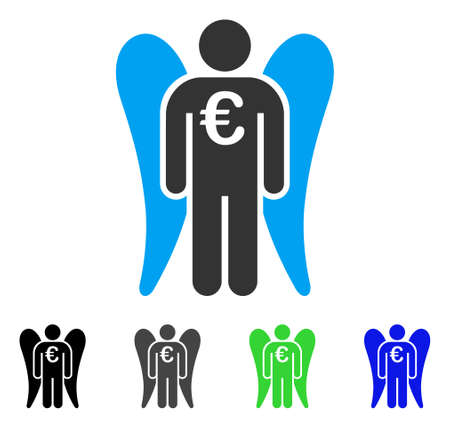 investor: Euro Angel Investor flat vector pictogram. Colored euro angel investor gray, black, blue, green icon versions. Flat icon style for graphic design. Illustration