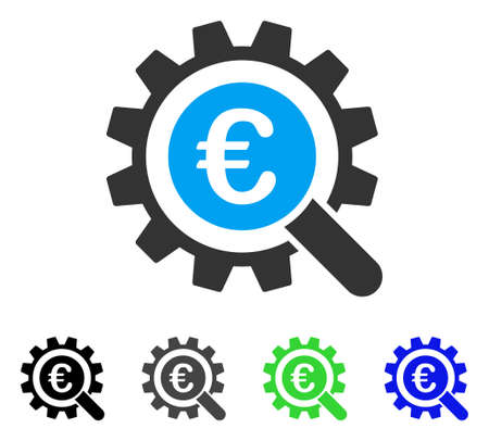 Euro Search Options flat vector pictogram. Colored euro search options gray, black, blue, green pictogram variants. Flat icon style for web design. Illustration