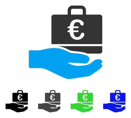 Euro Accounting Hand flat vector pictogram. Colored euro accounting hand gray, black, blue, green icon variants. Flat icon style for graphic design.