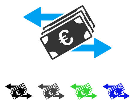 Euro Banknotes Transfers flat vector illustration. Colored euro banknotes transfers gray, black, blue, green icon variants. Flat icon style for graphic design. Ilustrace