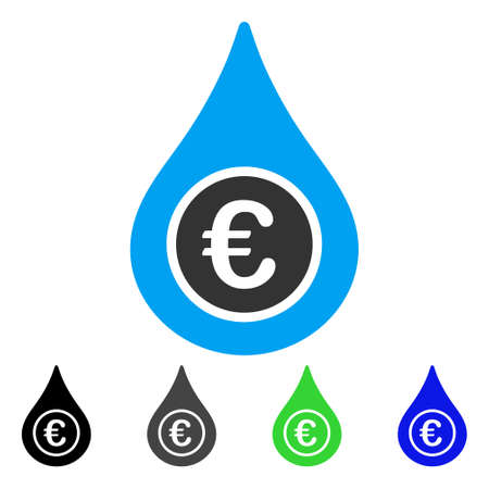 Euro Liquid Drop flat vector pictograph. Colored euro liquid drop gray, black, blue, green pictogram versions. Flat icon style for graphic design. Иллюстрация