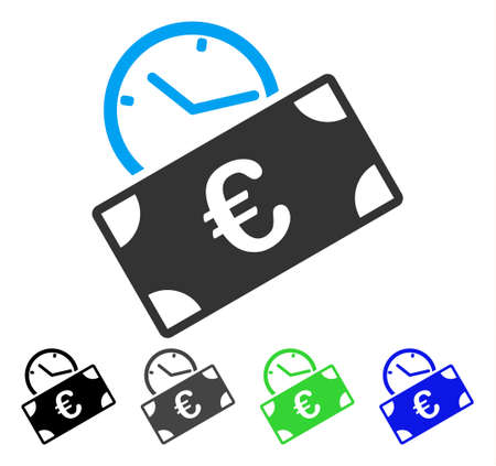 Euro Recurring Payment flat vector icon. Colored euro recurring payment gray, black, blue, green icon variants. Flat icon style for web design. Çizim